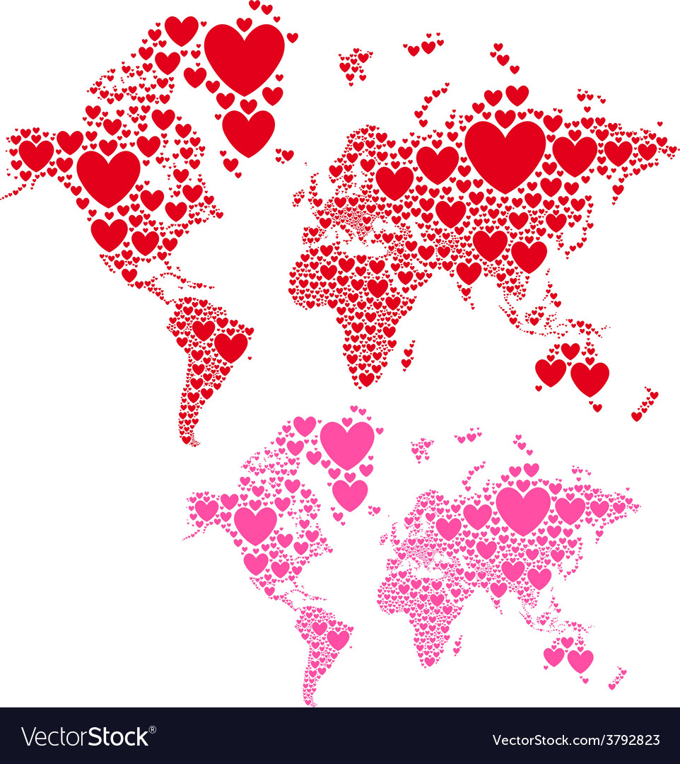 Love world map with red hearts vector | Price: 1 Credit (USD $1)