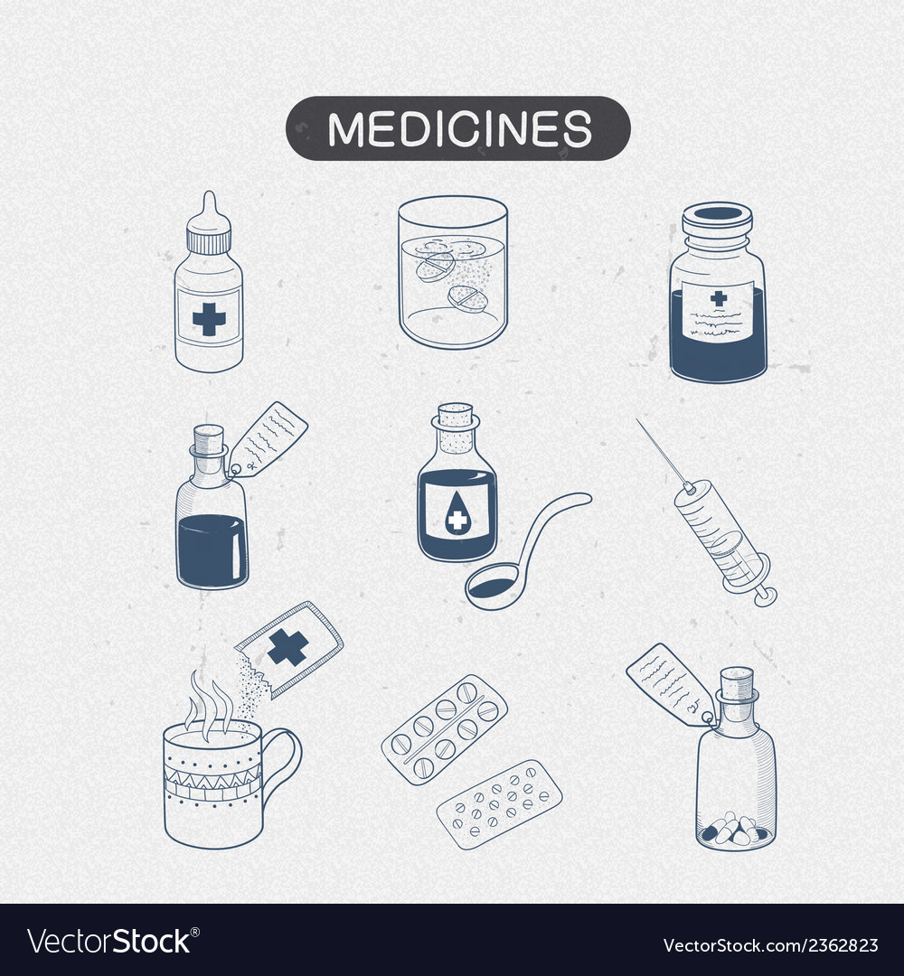 Medicines drugs collection vector | Price: 1 Credit (USD $1)