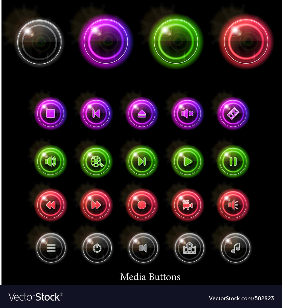 Neon web buttons vector | Price: 1 Credit (USD $1)