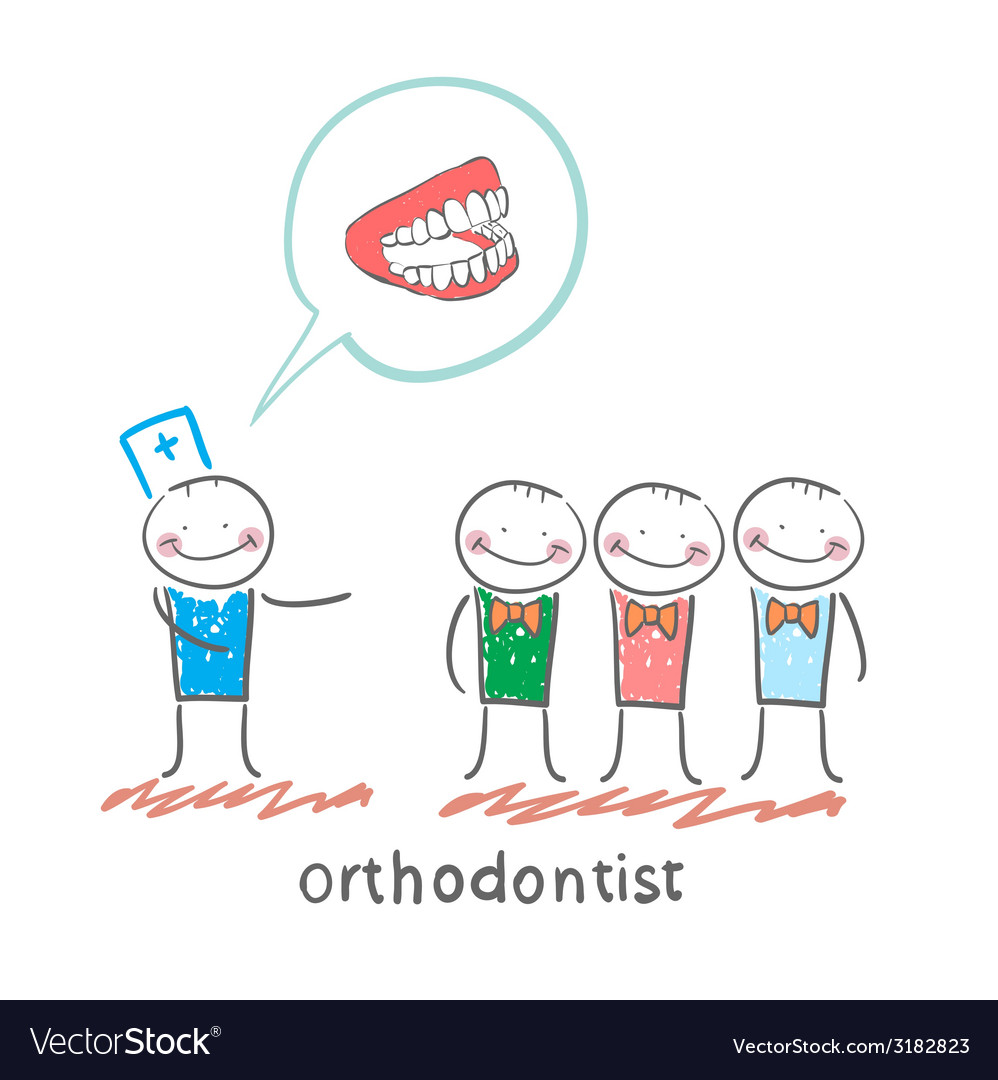 Orthodontist says with patients about their teeth vector | Price: 1 Credit (USD $1)