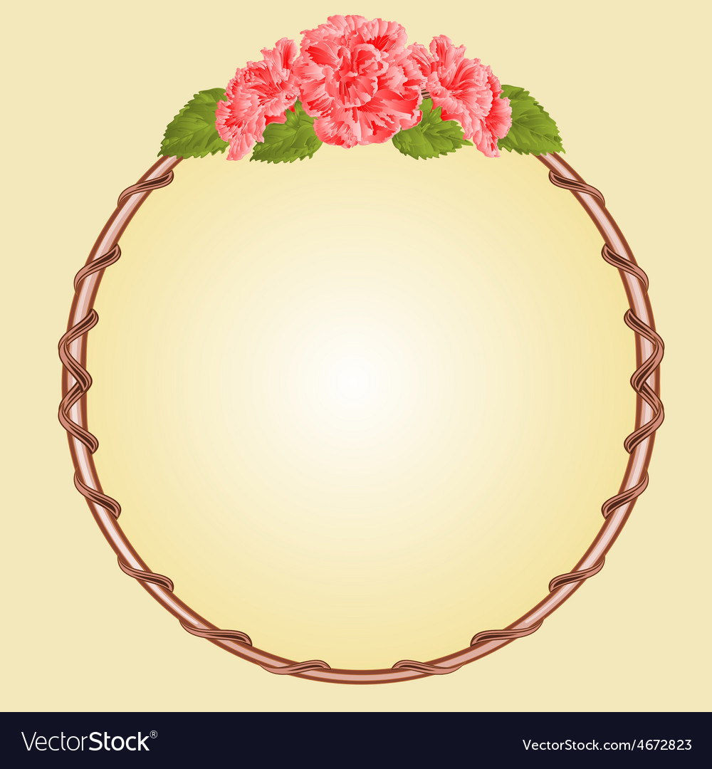 Round frame with pink hibiscus greeting card vector | Price: 1 Credit (USD $1)