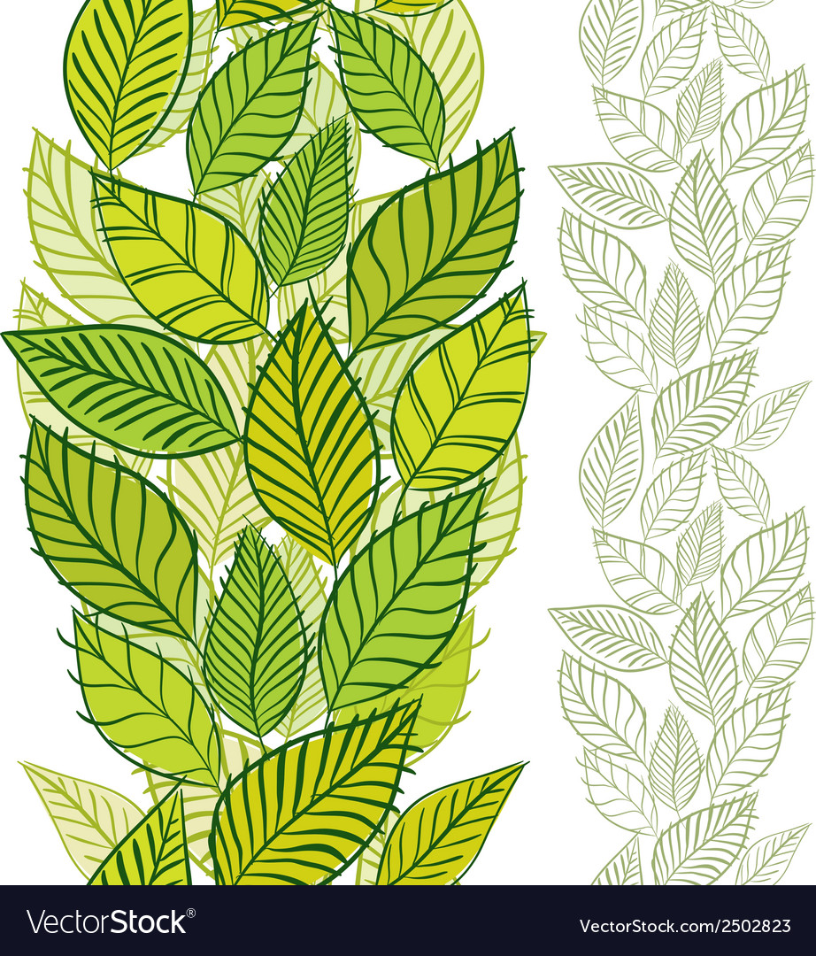 Seamless pattern with spring leaves vertical vector | Price: 1 Credit (USD $1)