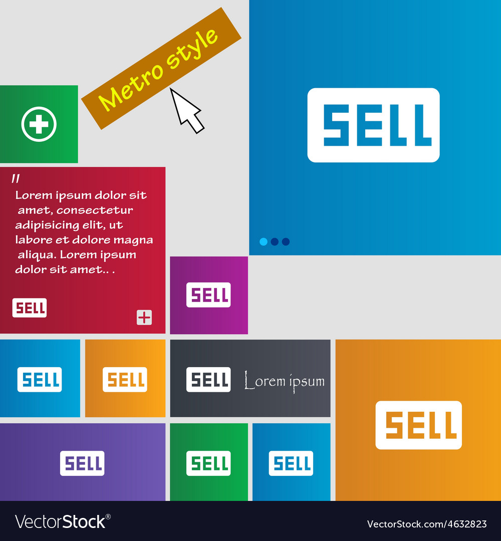 Sell contributor earnings icon sign metro style vector | Price: 1 Credit (USD $1)