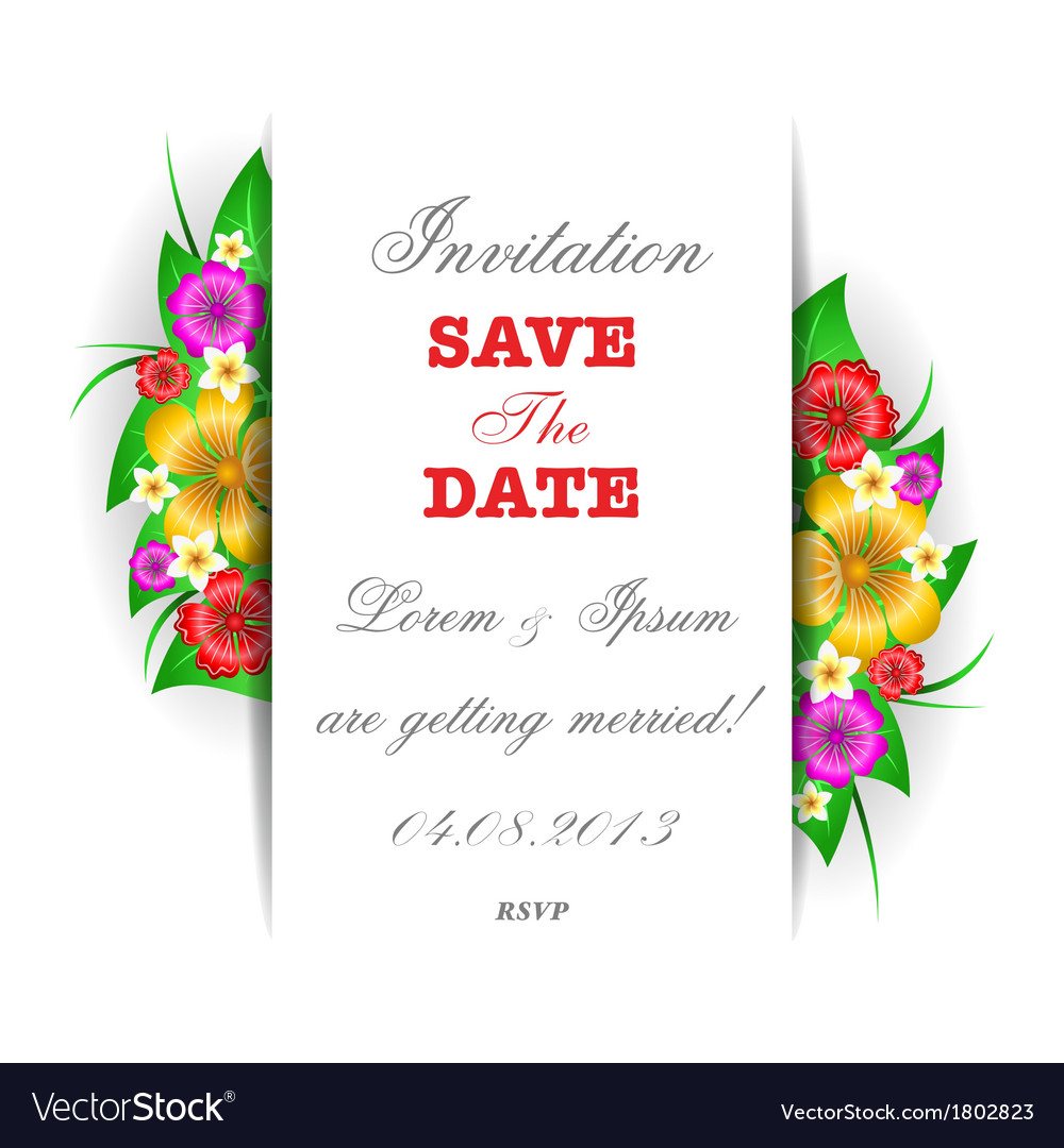 Tropical flowers invitation card template vector | Price: 1 Credit (USD $1)
