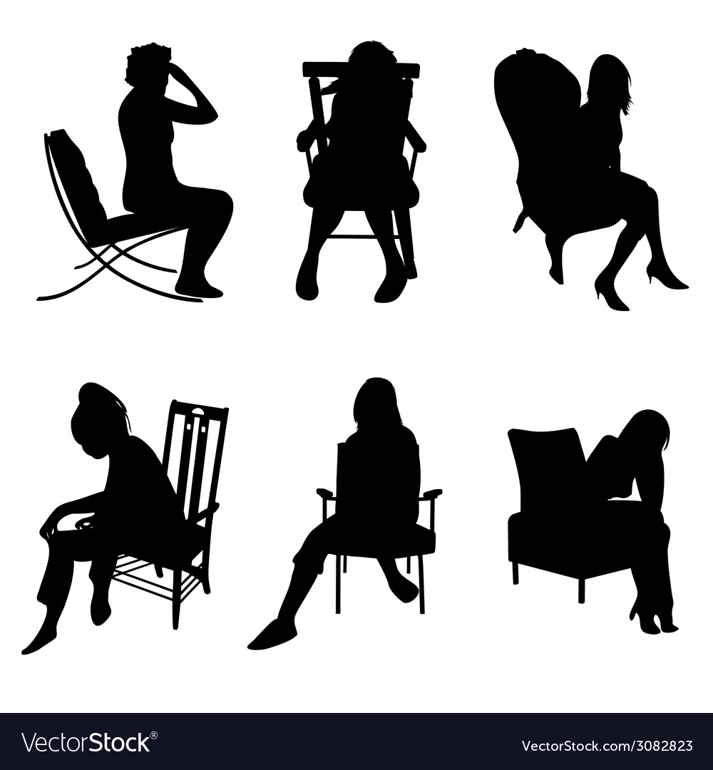 Woman in chairs vector | Price: 1 Credit (USD $1)