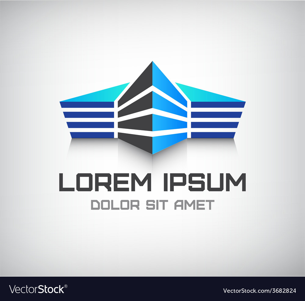 3d office building house icon logo vector | Price: 1 Credit (USD $1)