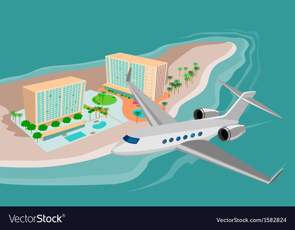 Airplane flying on beach resort vector   Price: 1 Credit (USD $1)