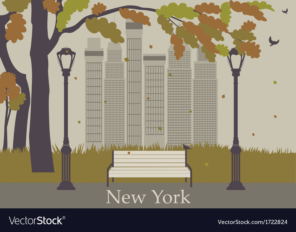 Autumn park new york vector | Price: 1 Credit (USD $1)