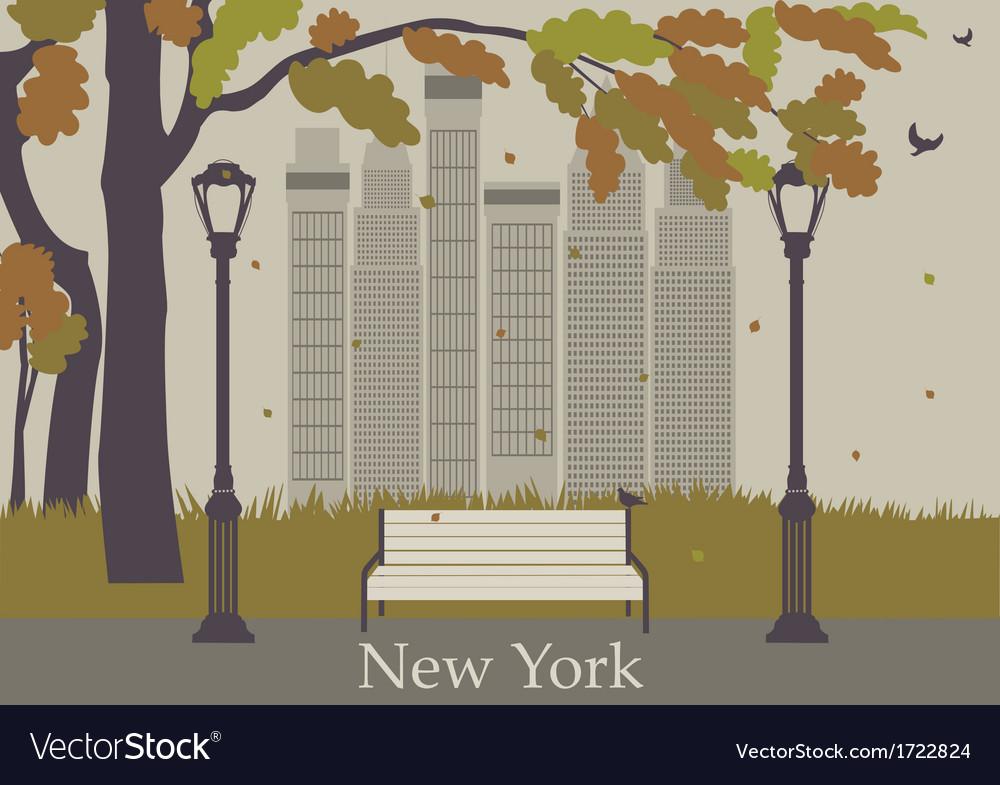 Autumn park new york vector   Price: 1 Credit (USD $1)