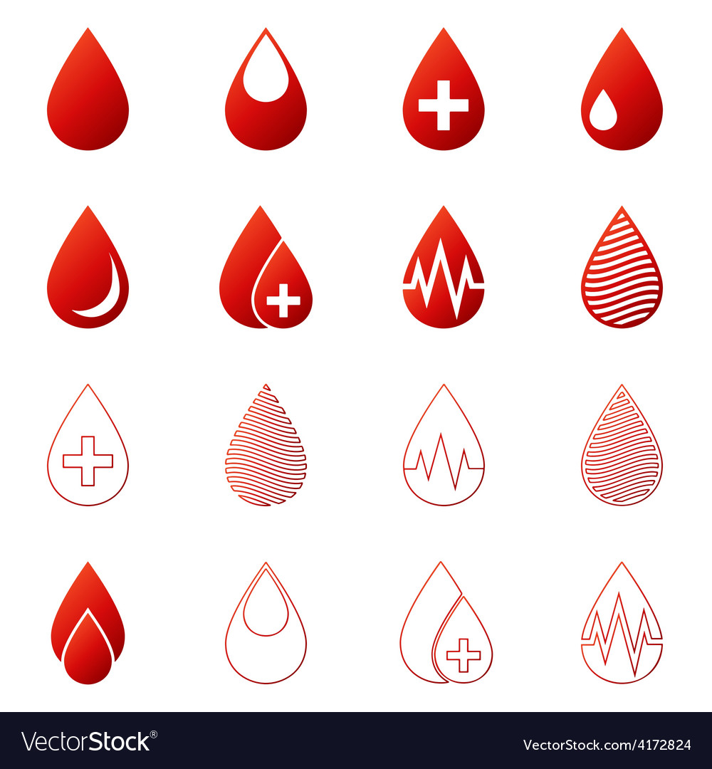 Blood drop icons set vector | Price: 1 Credit (USD $1)