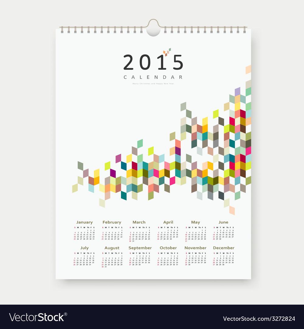 Calendar 2015 colorful geometric template design vector   Price: 1 Credit (USD $1)
