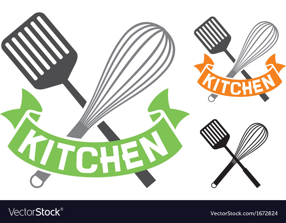Crossed spatula and balloon whisk  kitchen symbol vector