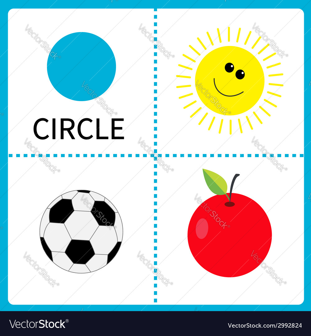Learning circle form sun football ball and apple vector | Price: 1 Credit (USD $1)