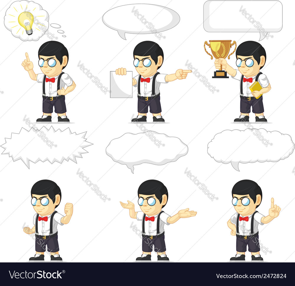 Nerd boy customizable mascot 21 vector | Price: 1 Credit (USD $1)