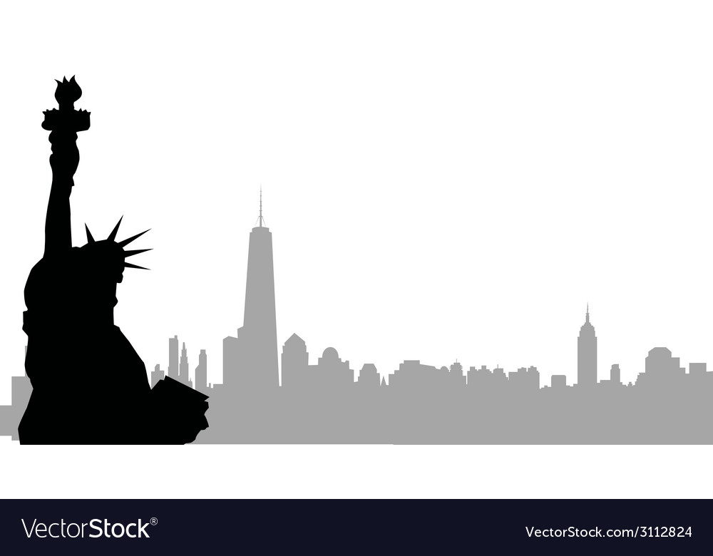 New york skyline and statue of liberty vector | Price: 1 Credit (USD $1)