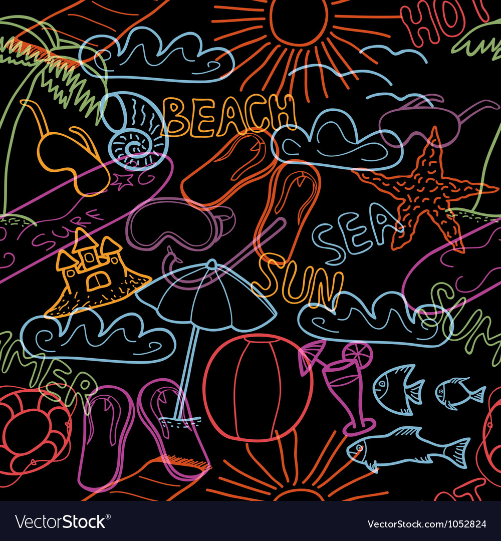 Seamless pattern with beach doodles vector | Price: 1 Credit (USD $1)