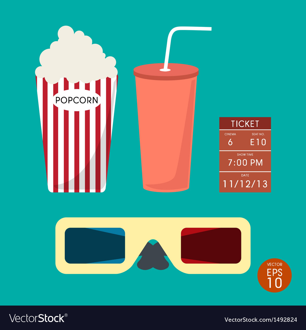 Set of cinema popcorn and ticket vector | Price: 1 Credit (USD $1)