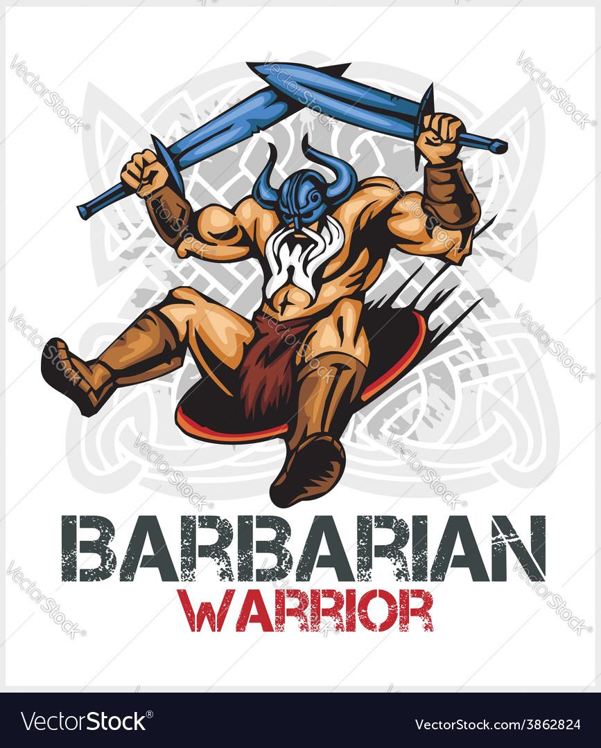 Viking norseman mascot cartoon with two swords vector   Price: 3 Credit (USD $3)