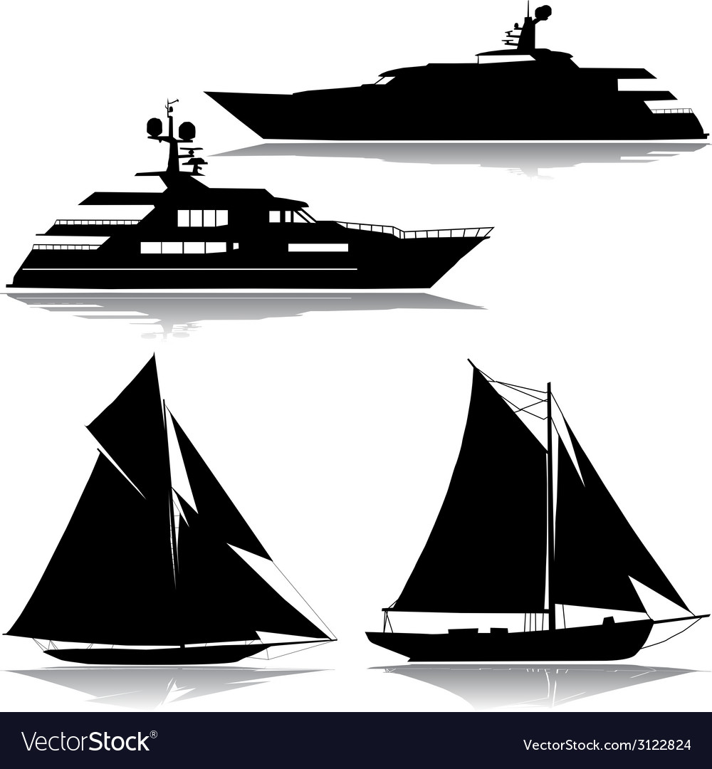 Yachts black silhouette vector | Price: 1 Credit (USD $1)