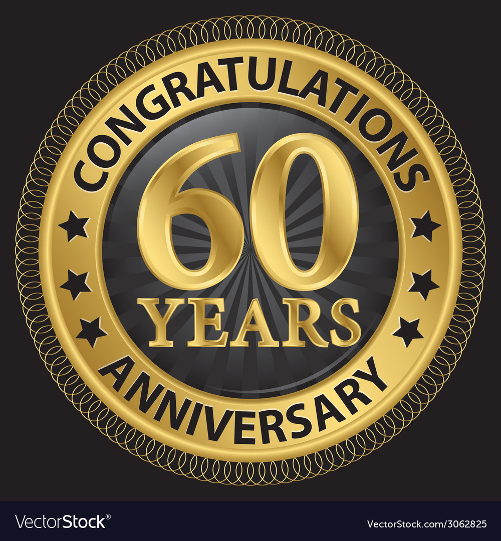 60 years anniversary congratulations gold label vector | Price: 1 Credit (USD $1)