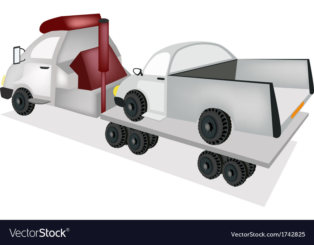 A tow truck loading a car after an accident vector | Price: 1 Credit (USD $1)
