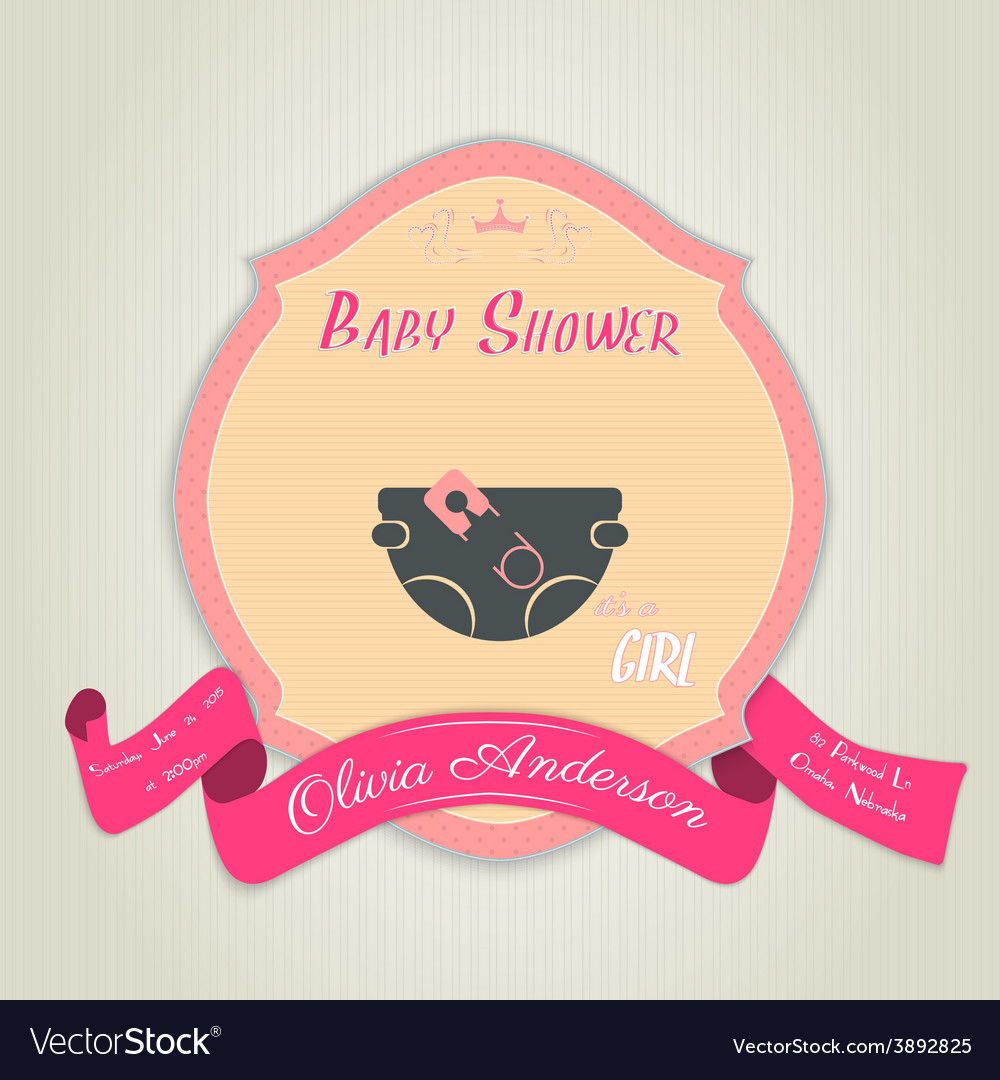 Baby shower invitation with diaper and pin vector | Price: 1 Credit (USD $1)