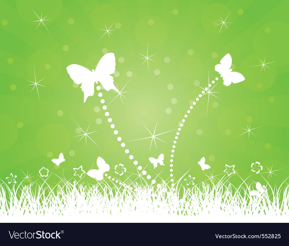 Butterflies on a green background a vector i vector | Price: 1 Credit (USD $1)