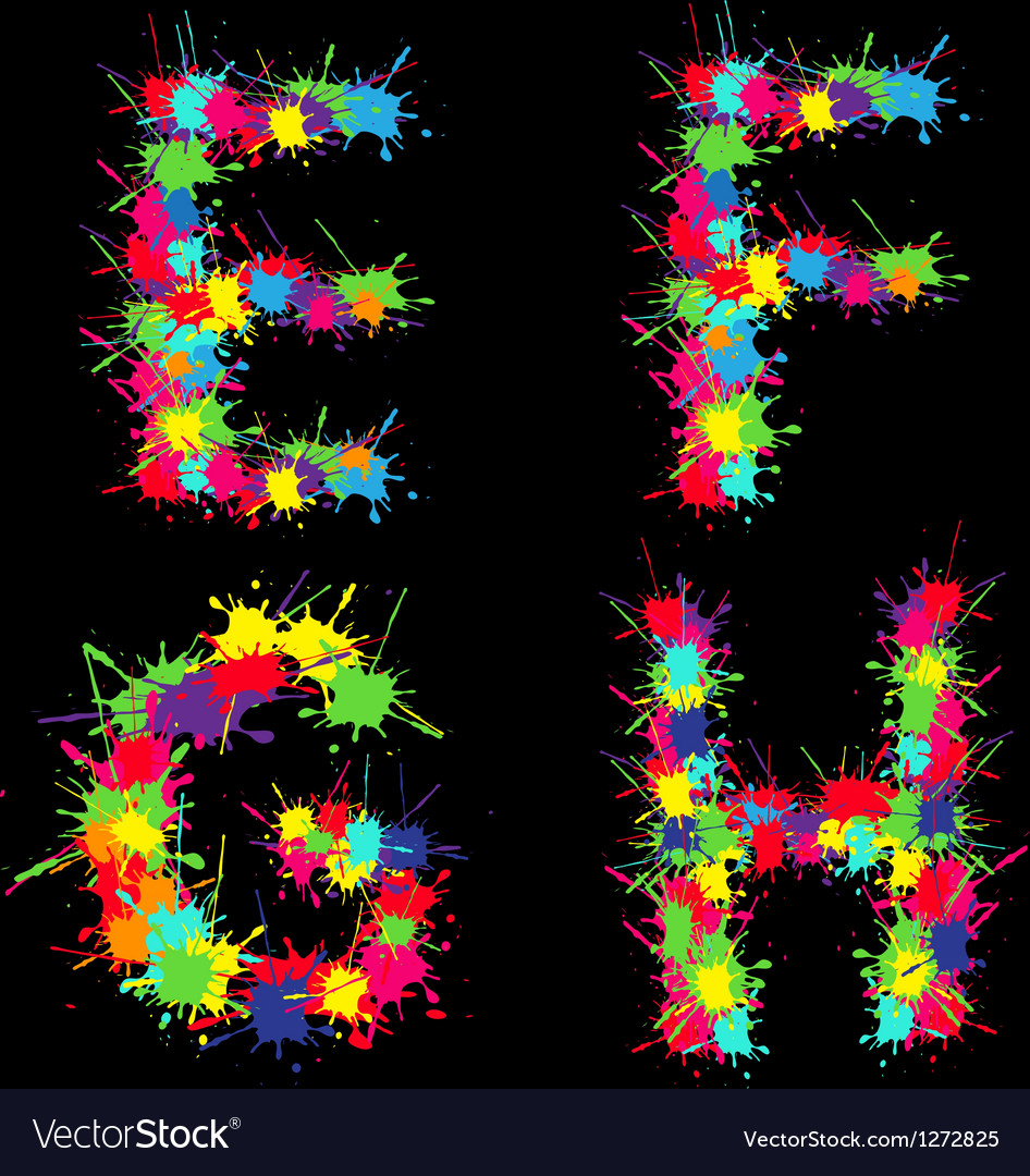 Colorful alphabet with blots efgh vector | Price: 1 Credit (USD $1)