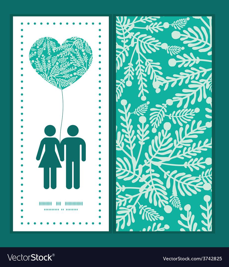 Emerald green plants couple in love vector   Price: 1 Credit (USD $1)