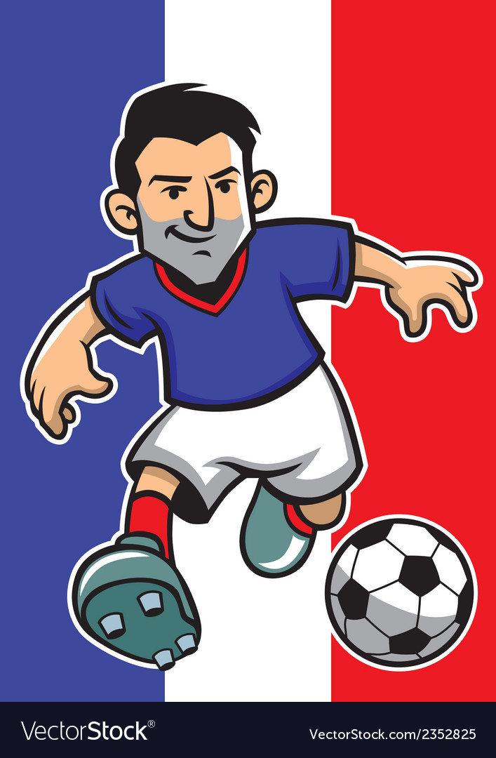 France soccer player with flag background vector | Price: 1 Credit (USD $1)