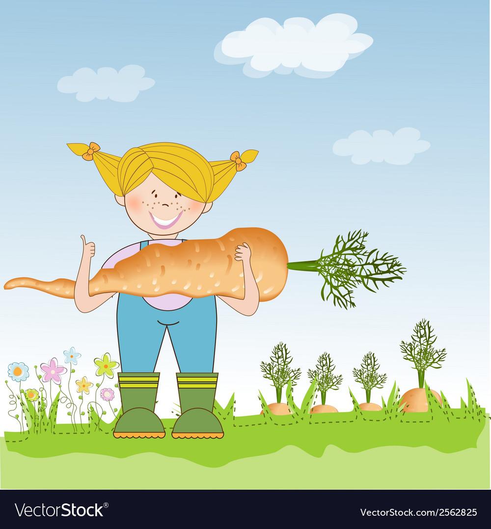 Gardener to harvest carrots vector | Price: 1 Credit (USD $1)
