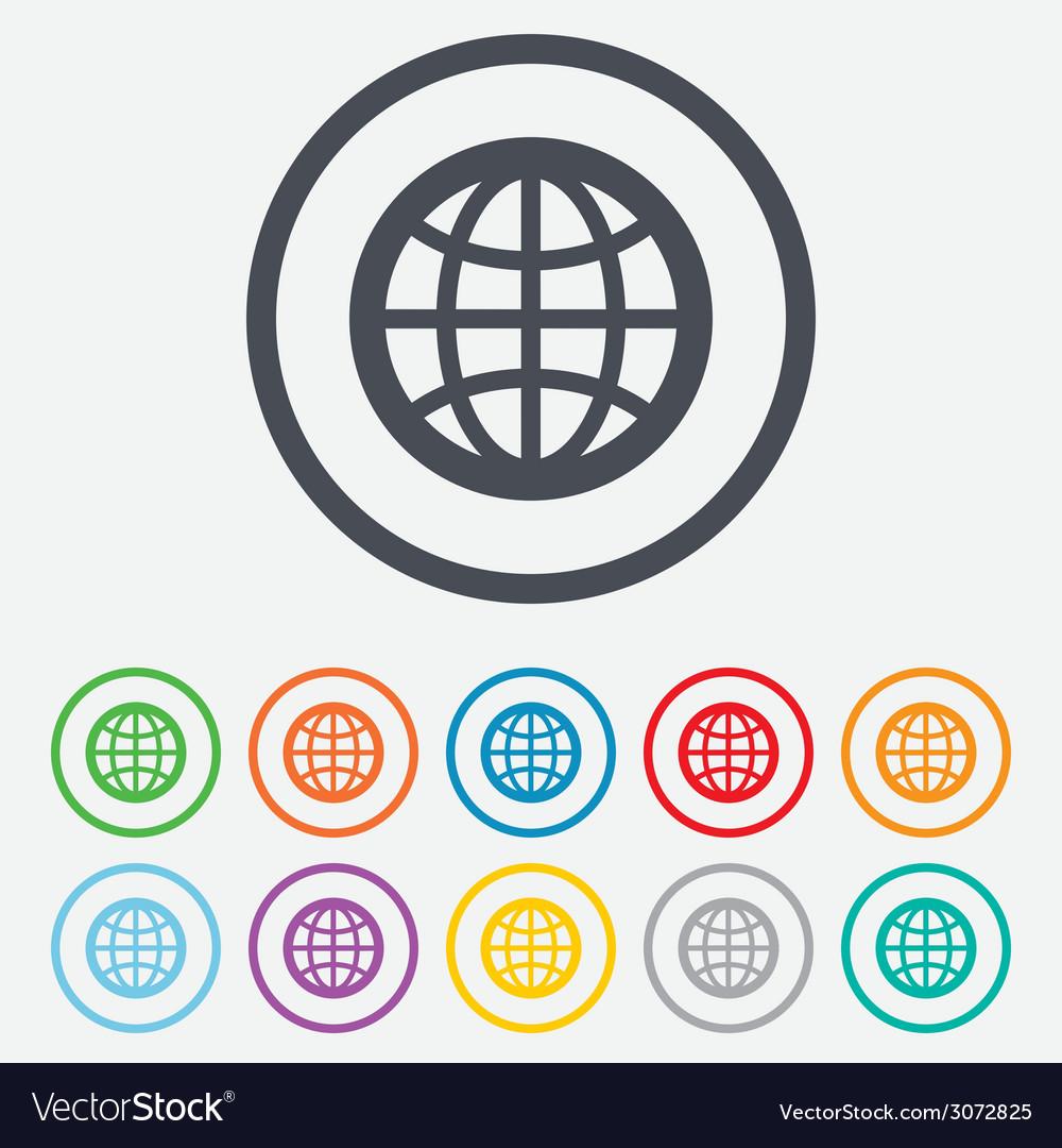 Globe sign icon world symbol vector | Price: 1 Credit (USD $1)