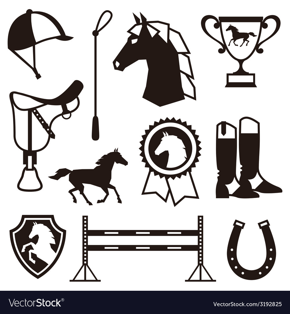 Icon set with horse equipment in flat style vector | Price: 1 Credit (USD $1)