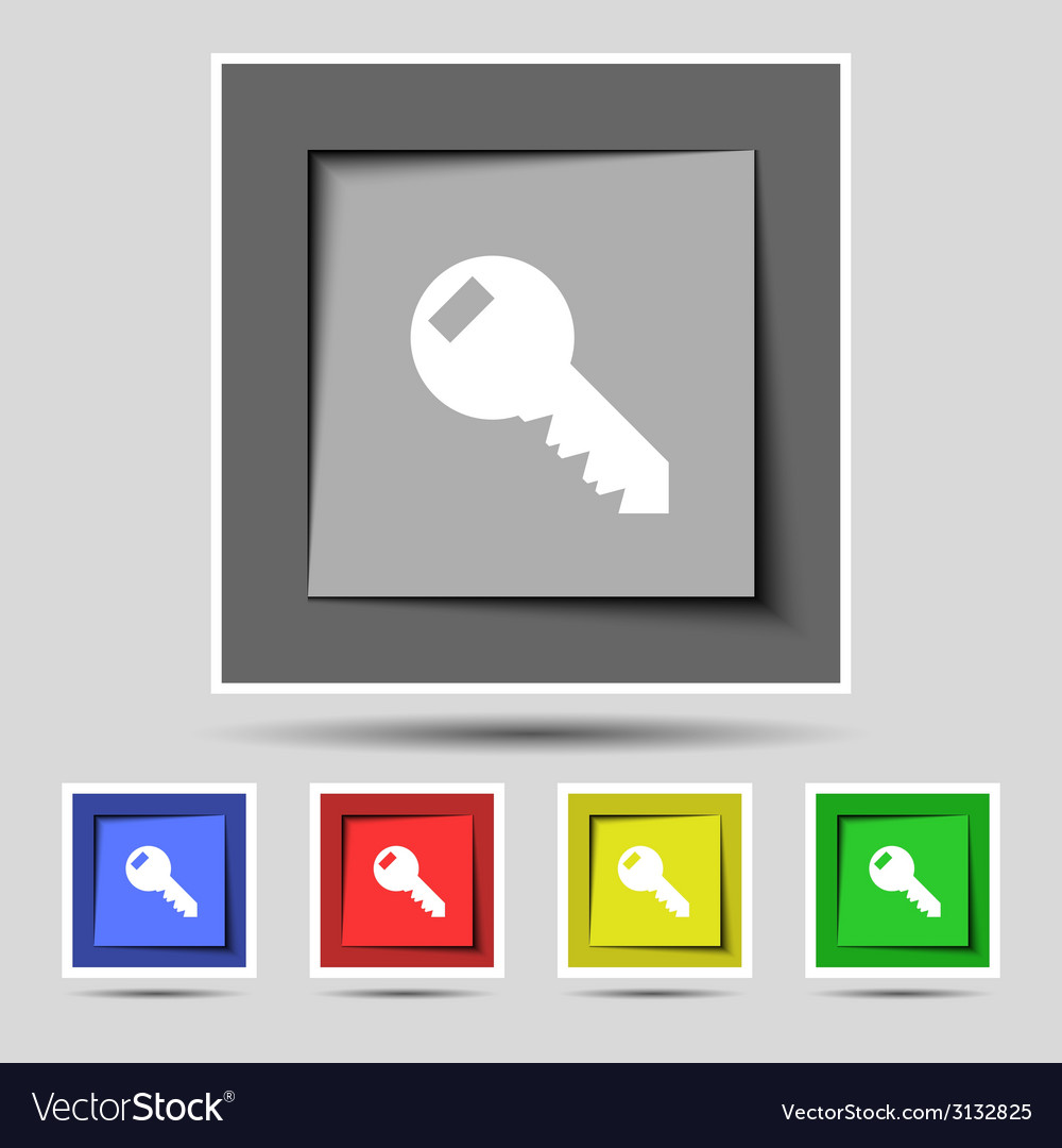 Key sign icon unlock tool symbol set of colored vector | Price: 1 Credit (USD $1)