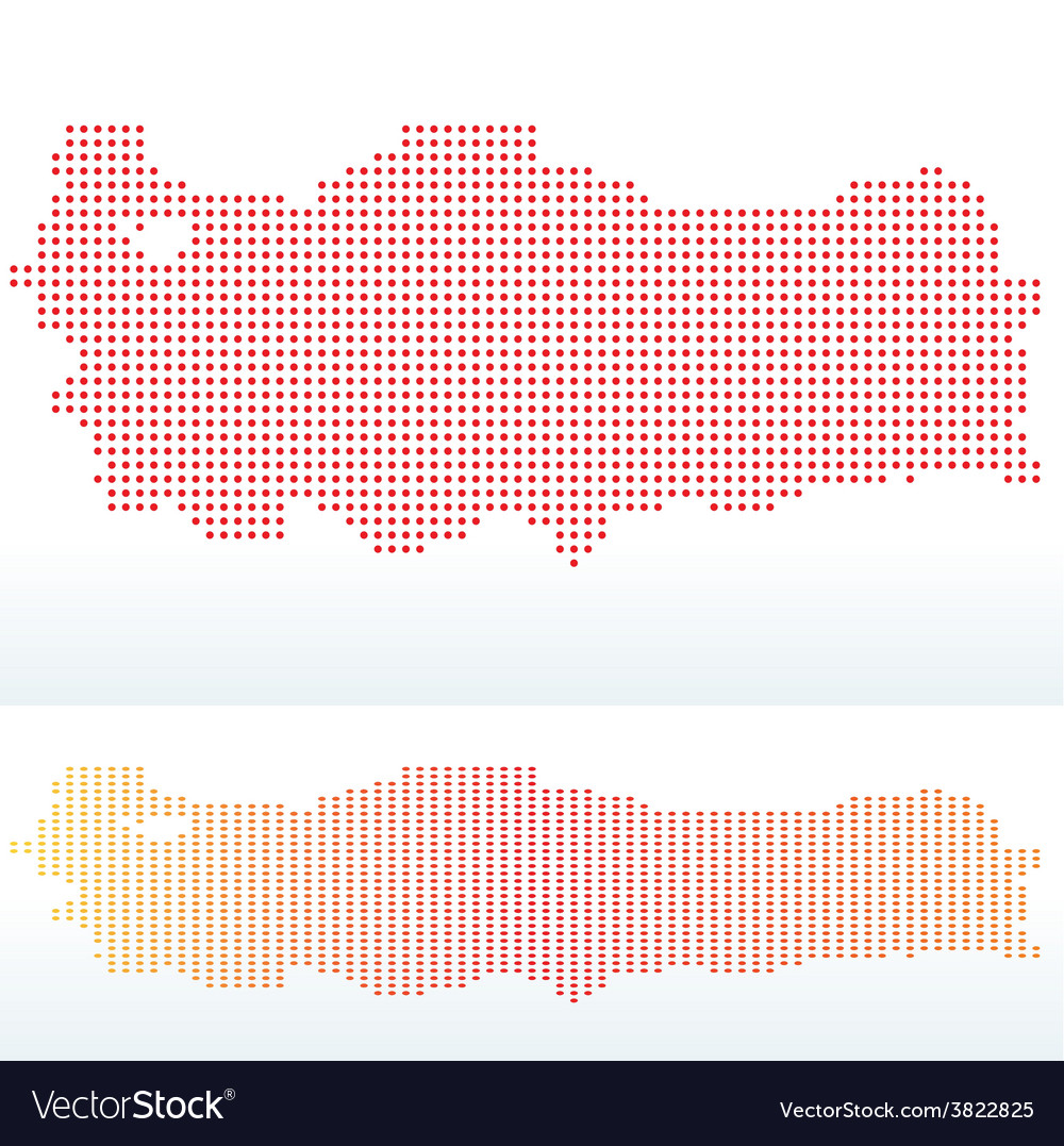 Map of republic of turkey with with dot pattern vector | Price: 1 Credit (USD $1)