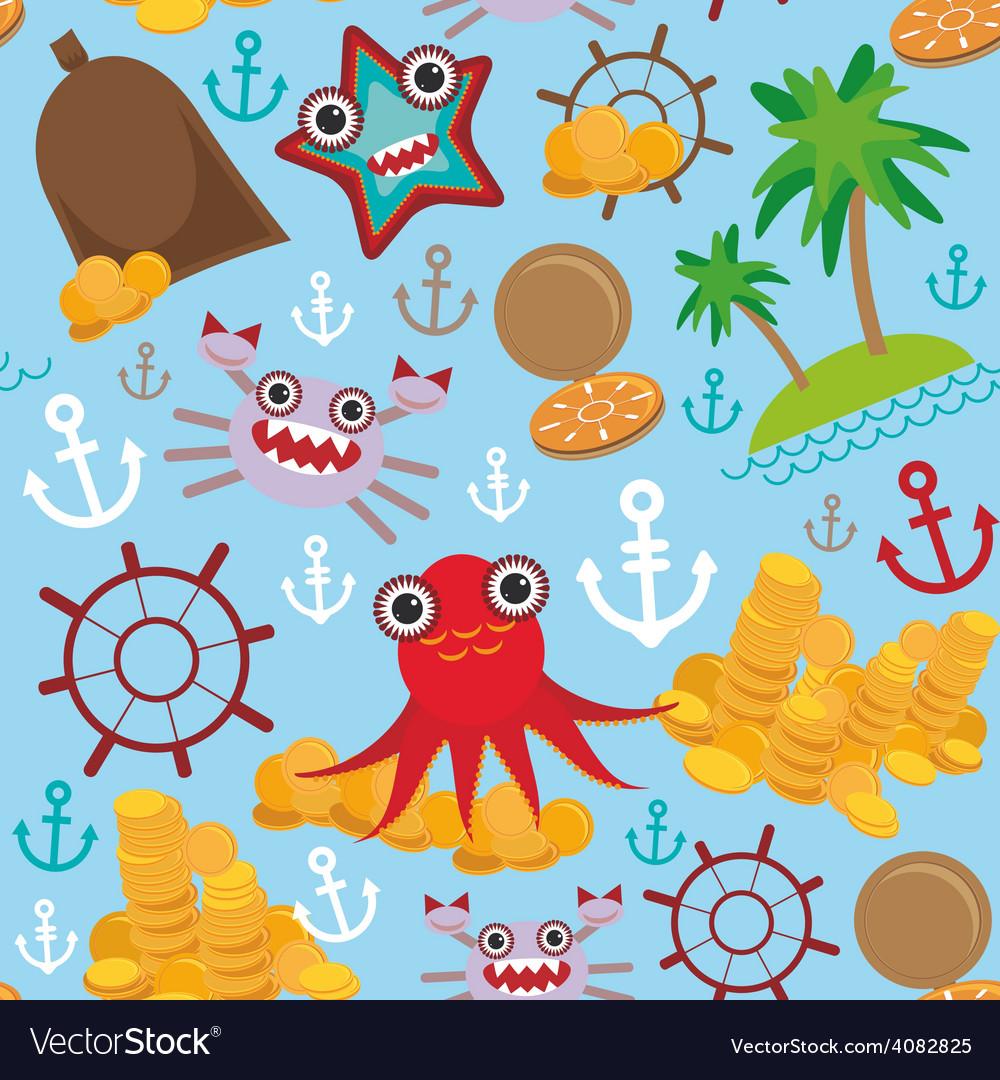 Marine seamless pirate pattern on light blue vector   Price: 1 Credit (USD $1)