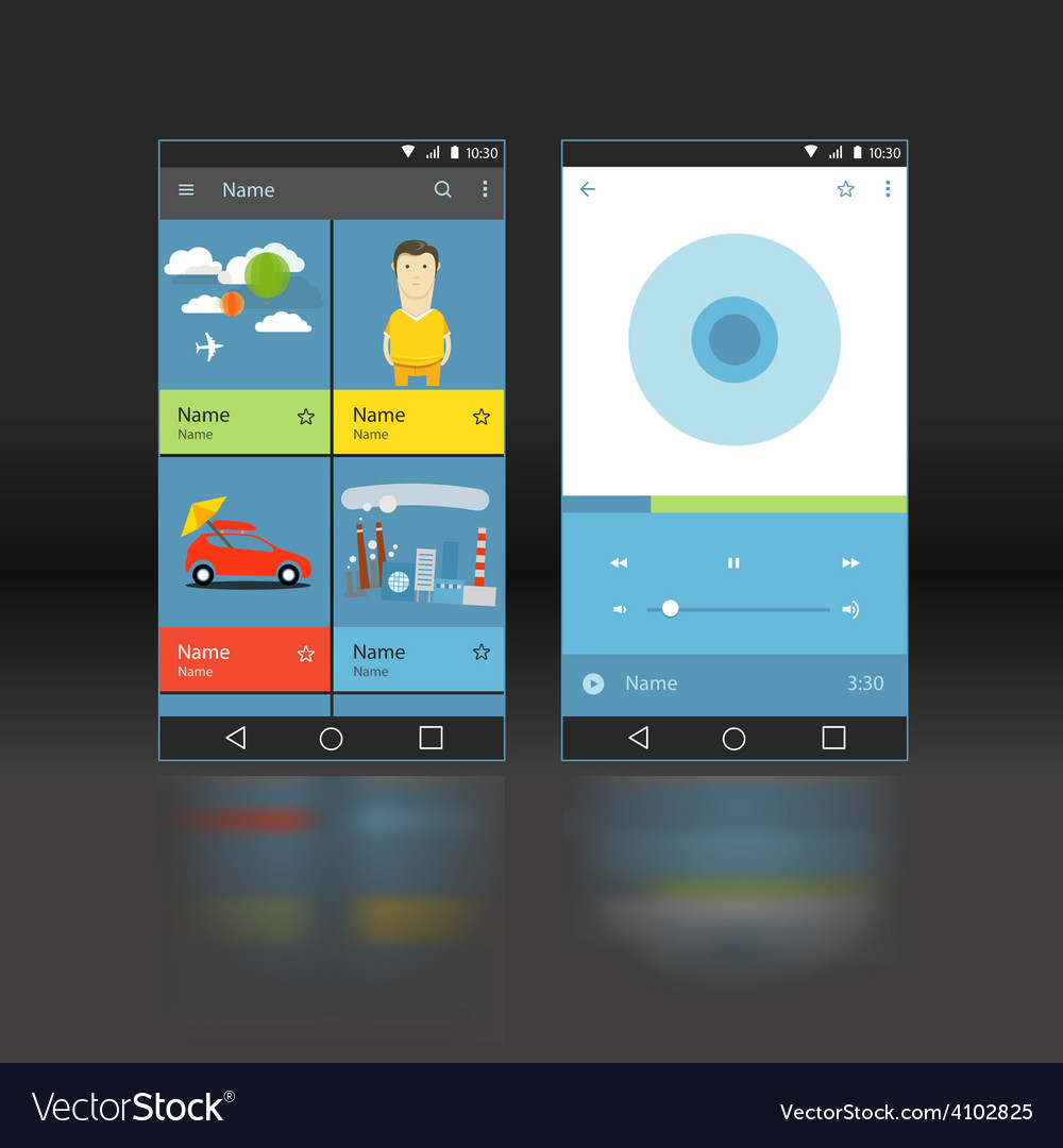 Modern smartphone player interface template vector | Price: 1 Credit (USD $1)