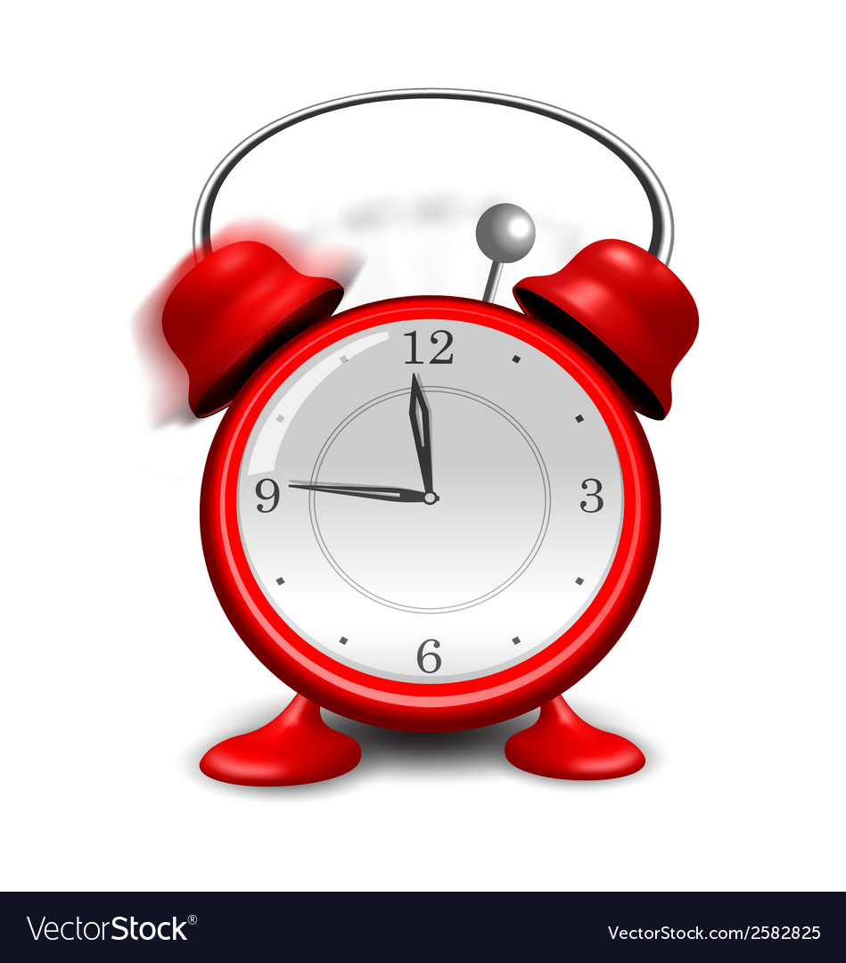 Red alarm clock close up isolated on white vector | Price: 1 Credit (USD $1)