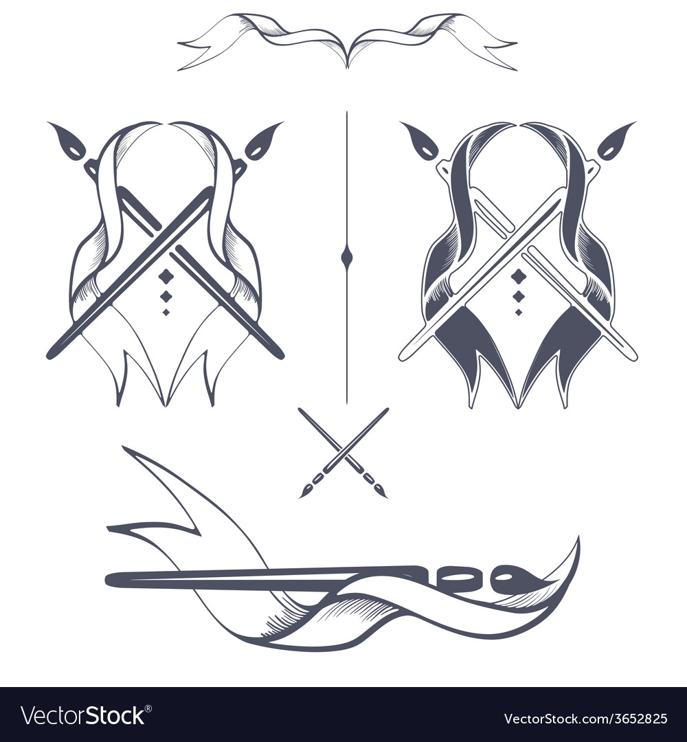 Ribbon with brushes vector   Price: 1 Credit (USD $1)
