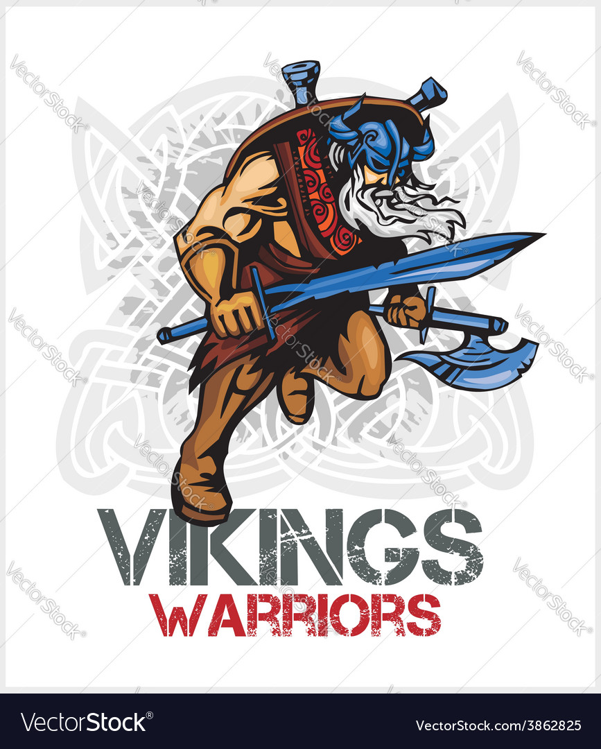 Viking norseman mascot cartoon with ax and sword vector | Price: 3 Credit (USD $3)