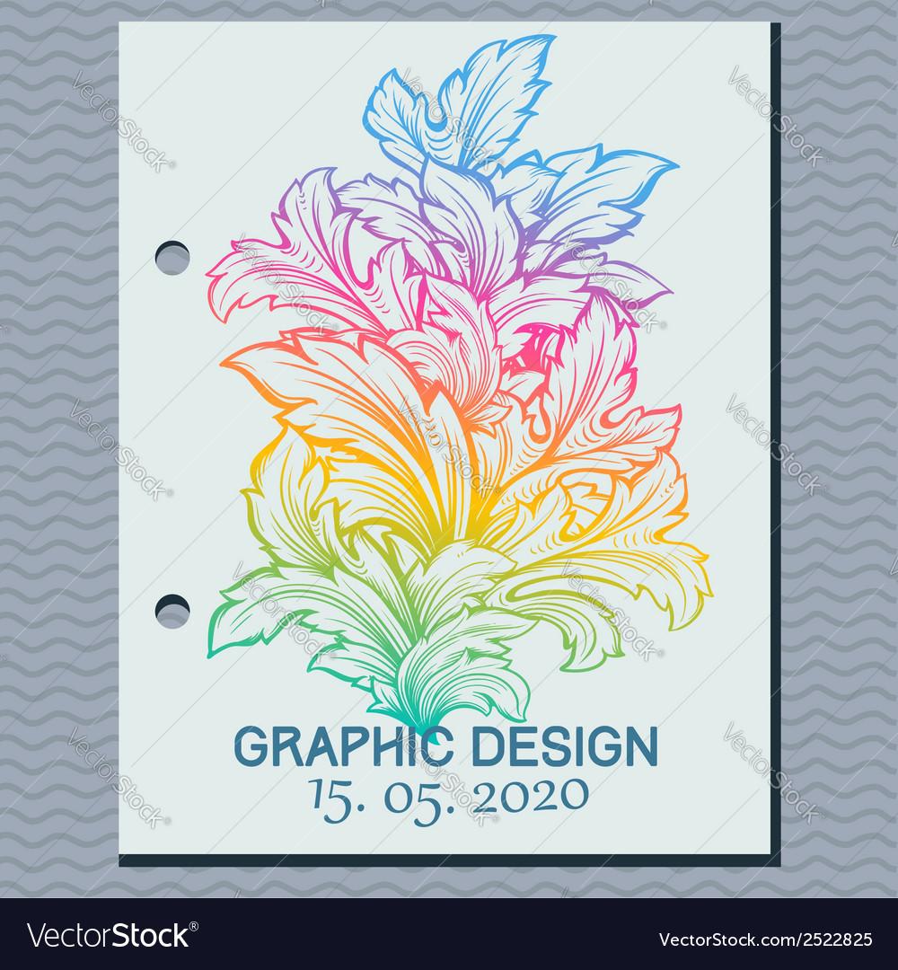 Vintage leaf design element vector | Price: 1 Credit (USD $1)