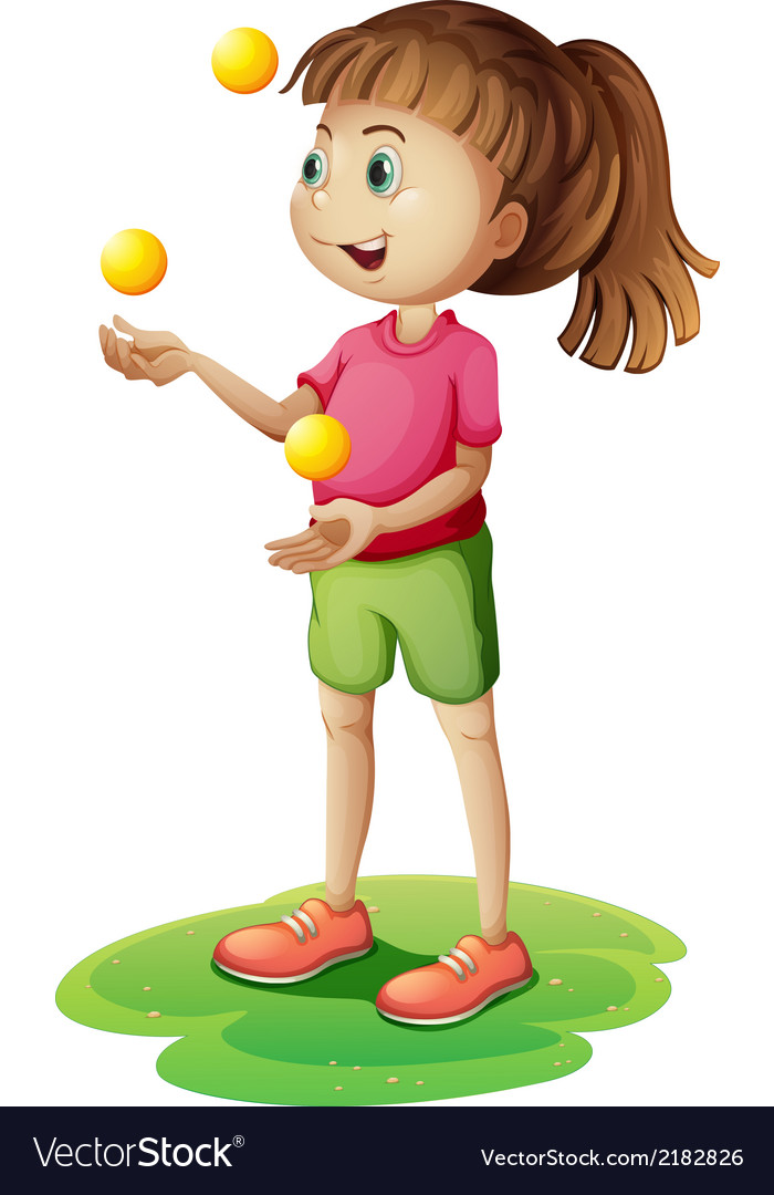 A cute little girl juggling vector   Price: 1 Credit (USD $1)