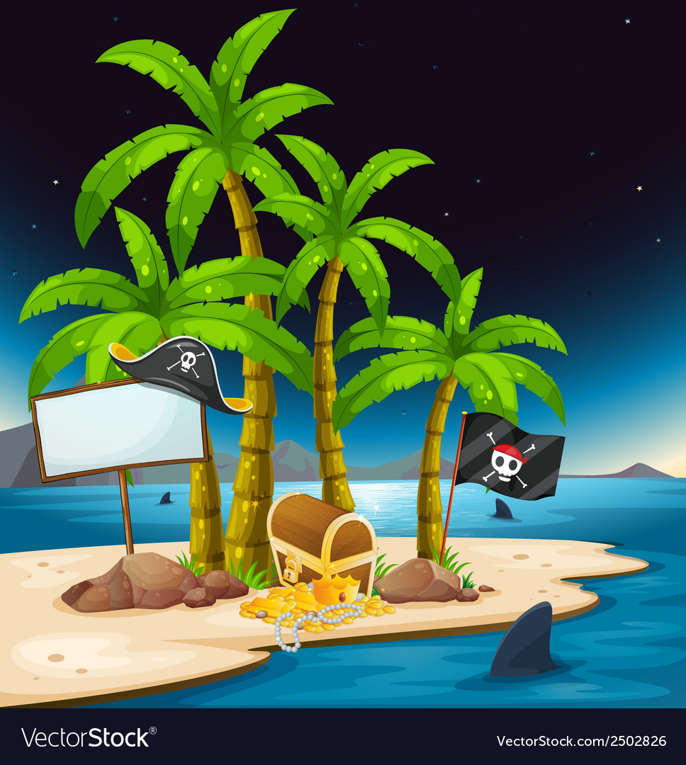 A pirate island with an empty signboard vector | Price: 1 Credit (USD $1)