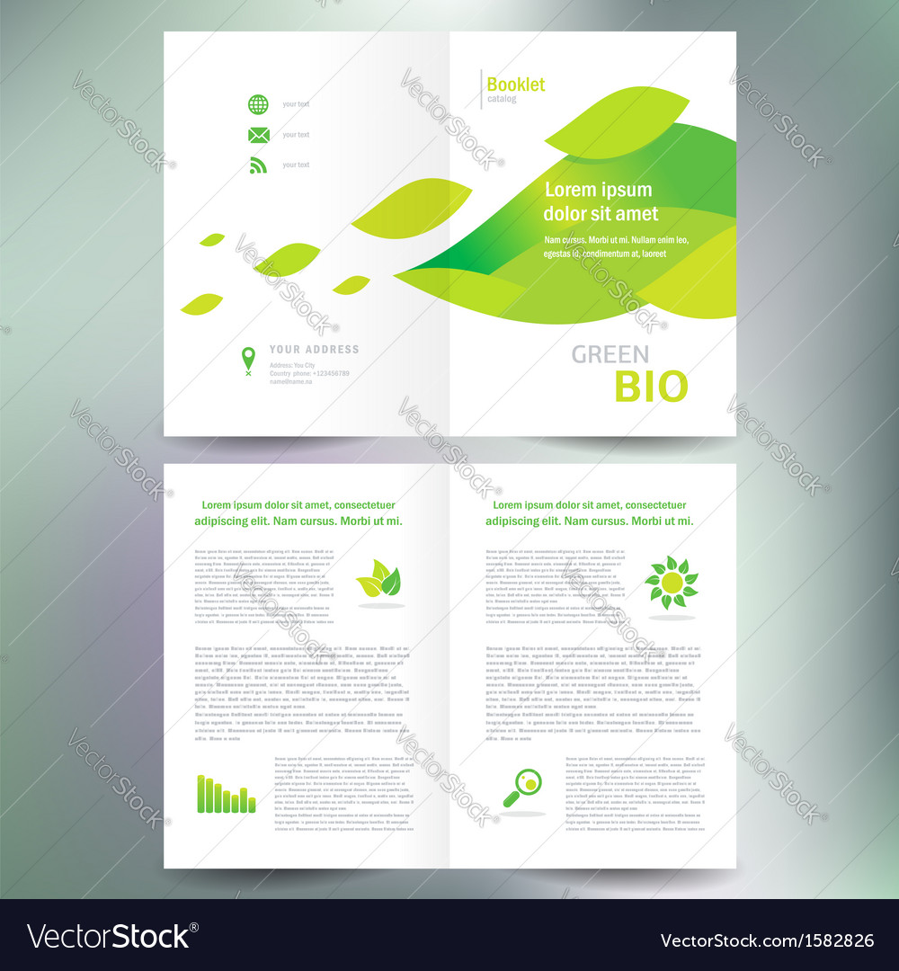 Booklet catalog brochure folder bio eco green leaf vector | Price: 1 Credit (USD $1)