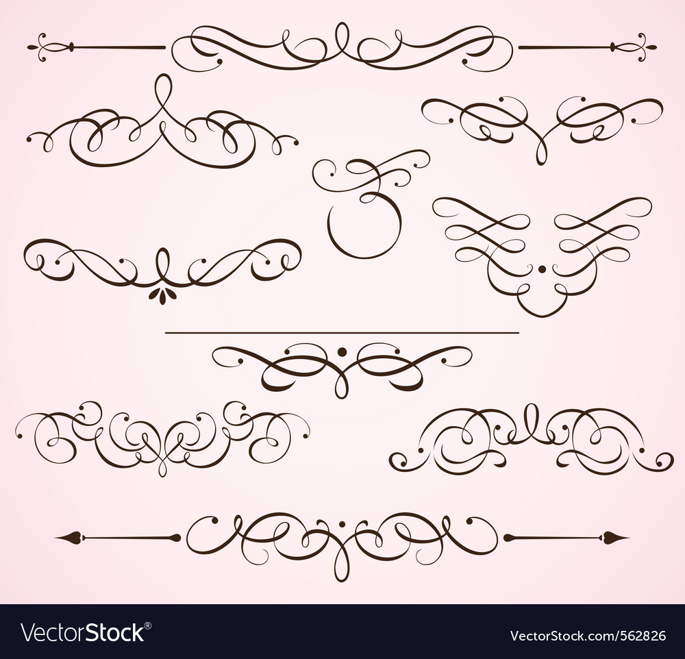 Decorative floral elements vector | Price: 1 Credit (USD $1)