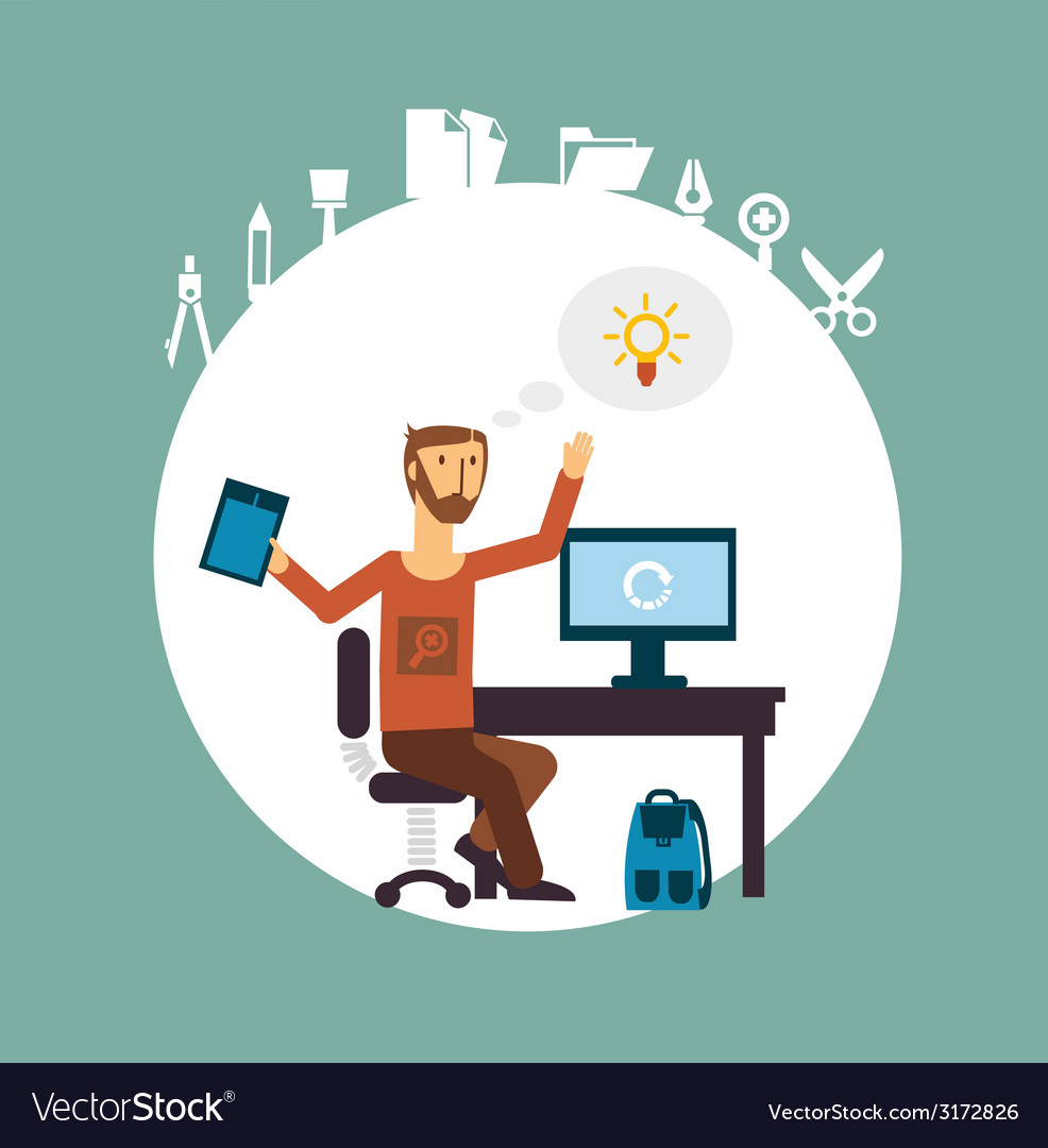 Designer working for the computer vector | Price: 1 Credit (USD $1)