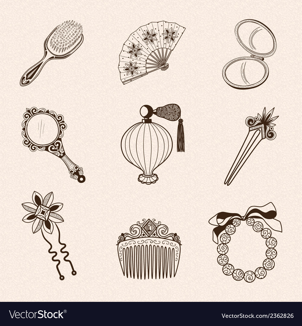 Ladys vintage beauty accessories collection vector   Price: 1 Credit (USD $1)