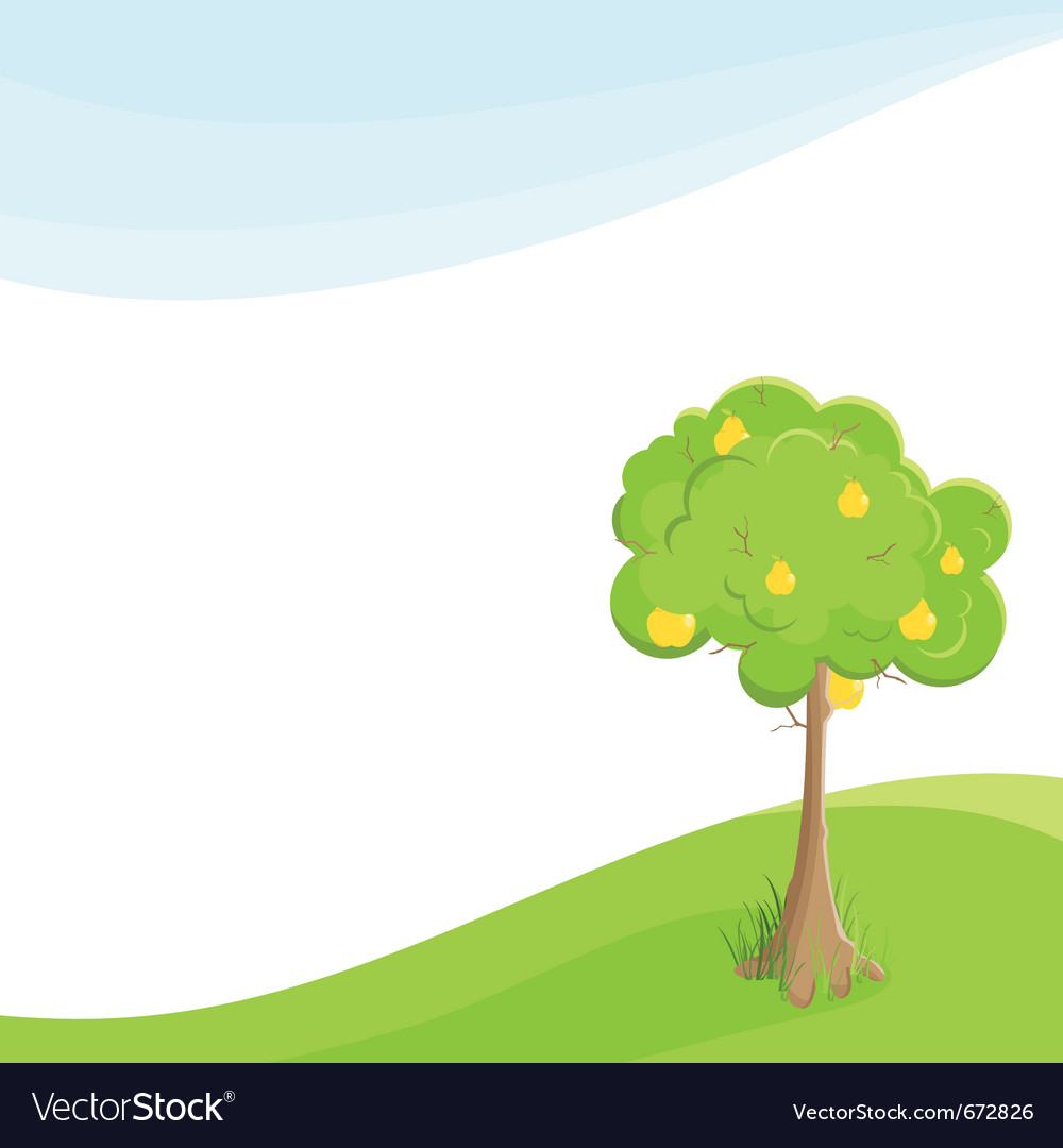 Lone pear tree in a field under blue sky vector | Price: 1 Credit (USD $1)