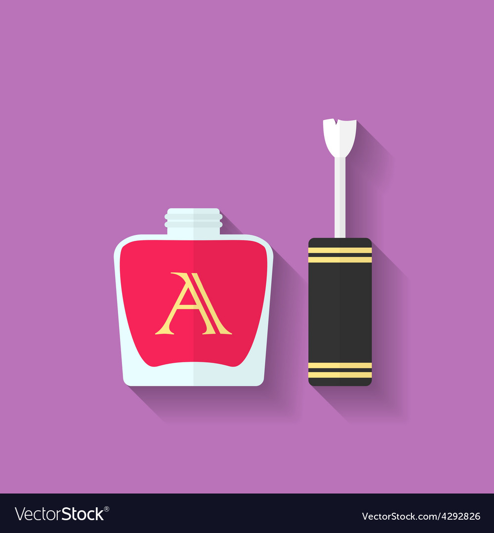Nail polish nail varnish icon flat style vector | Price: 1 Credit (USD $1)