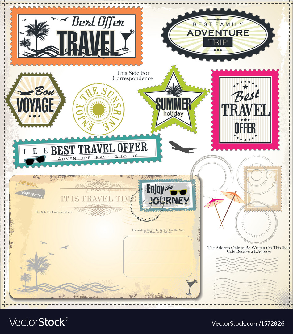 Post stamp summer holiday and travel time label vector | Price: 3 Credit (USD $3)